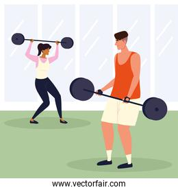 sporty couple doing exercises