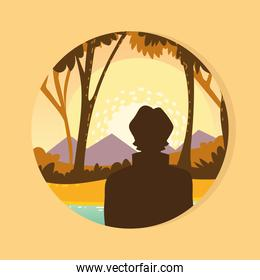 silhouette man forest