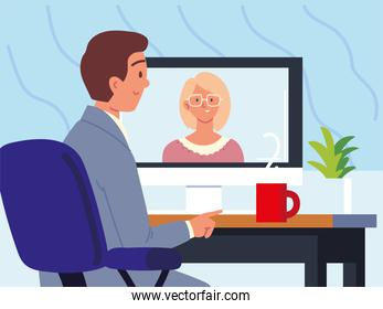 employee interview talk on video call