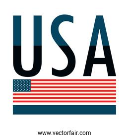 USA flag and lettering