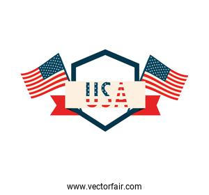 USA flags label