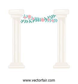 antique columns with flowers