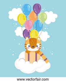 cute tiger with balloons