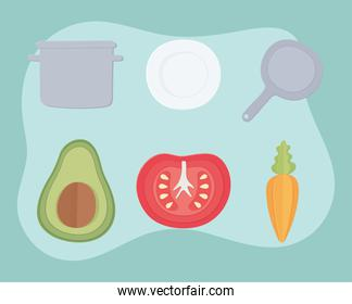 vegetables cooking icons