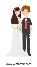 young groom and bride