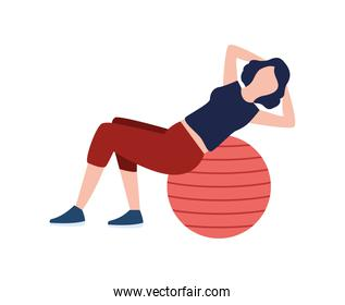 woman fitness with balloon