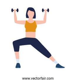 woman fitness with dumbbells