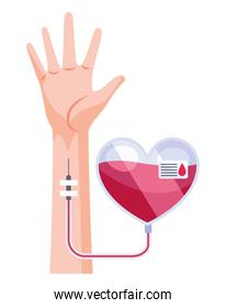 hand with heart donation