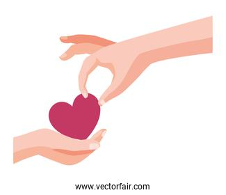 hands human with heart