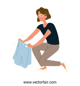 woman cleaning with cloth