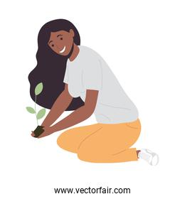 afro ecologist planting