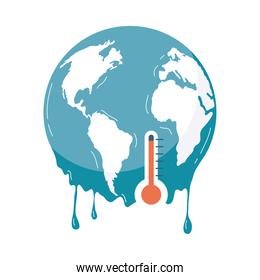 earth melting with thermometer