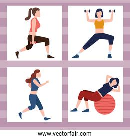 four fitness persons