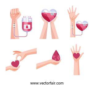 six blood donor icons