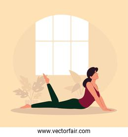 woman in yoga pose at home