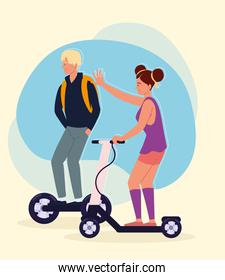 couple fun with electric scooter