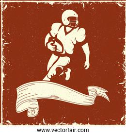 football player in ribbon