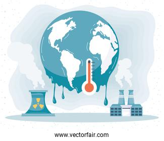 earth melting and factories