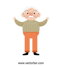 happy grandfather character