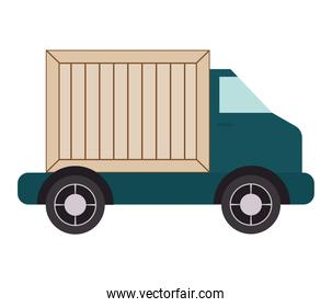 truck with wooden box
