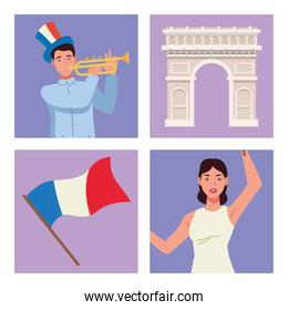four bastille day icons