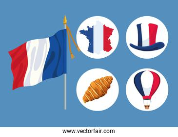 five bastille day icons