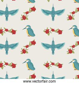 blue birds and flowers