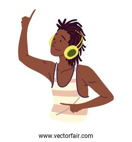 afro american man with headphones