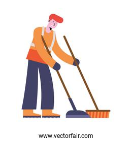 man cleaning with broom