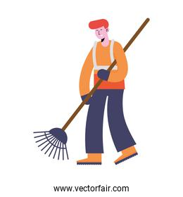 man cleaning with rake