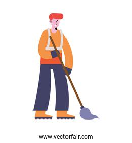 man cleaning with mop
