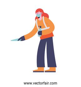 woman cleaning with spray