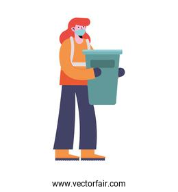 woman cleaning with waste