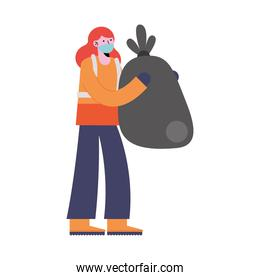 woman cleaning with garbage