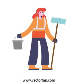 woman cleaning with bucket