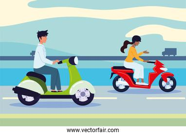 man and woman on motorbikes