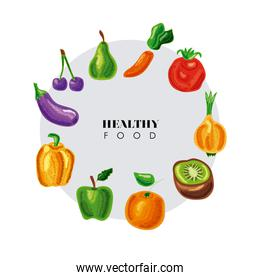 healthy food icons around