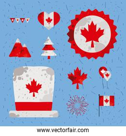 ten canada day icons