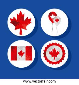 four canada day icons
