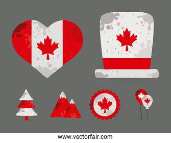 six canada day icons