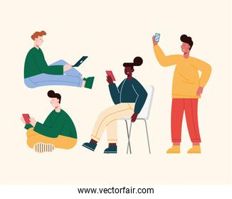 five persons using devices
