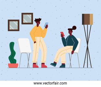 afro couple using devices
