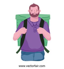 delivery man with backpack