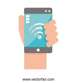 hand with smartphone internet
