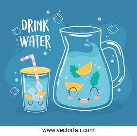drink water glass pitcher