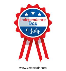 Independence day seal stamp with ribbon