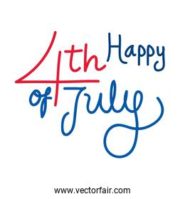 Isolated happy 4th of july text