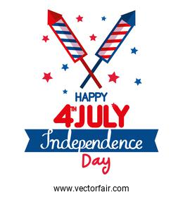 happy 4th july with fireworks