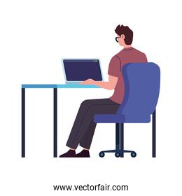 Man with laptop working