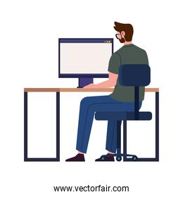 Man with computer working